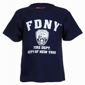 FDNY w/Shield Full Chest Navy Kids Tee