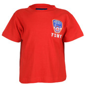 FDNY Embroidered Patch Red Kids Tee