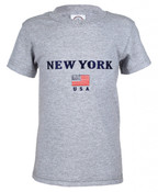 New York American Flag Ash Kids Tee