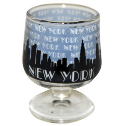 "NYC ""Grey Skyline"" Mini Brandy Glass Photo"