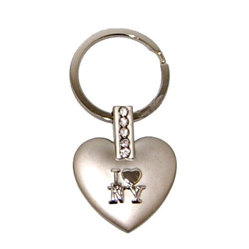 I Love NY Multi Diamond Heart-Shaped Keychain photo