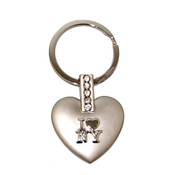 I Love NY Multi Diamond Heart-Shaped Keychain