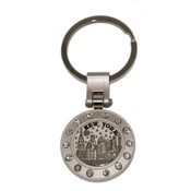 NYC Skyline Multi Diamond Circle Keychain