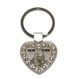 NYC Icons Multi Diamond Heart-Shaped Keychain