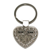 NYC Skyline Multi Diamond Heart-Shaped Keychain