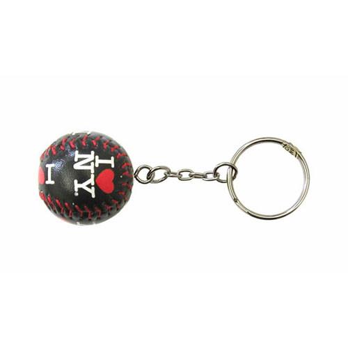 I Love NY Black Baseball Keychain photo