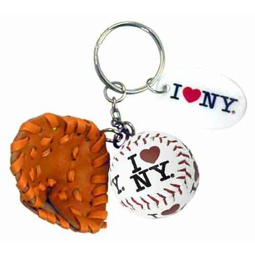 I Love NY White Baseball Glove & Ball Keychain photo