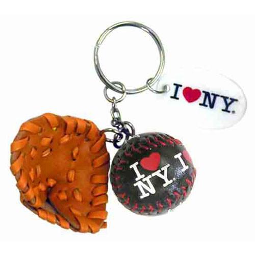 I Love NY Black Baseball Glove & Ball Keychain photo