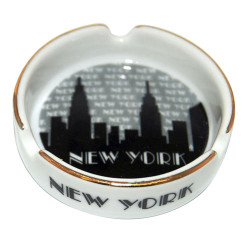 "NYC ""Grey Skyline"" Small Ashtray w/Gold Edge Photo"
