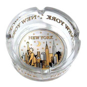 NYC Skyline Gold & Black Mini Glass Ashtray