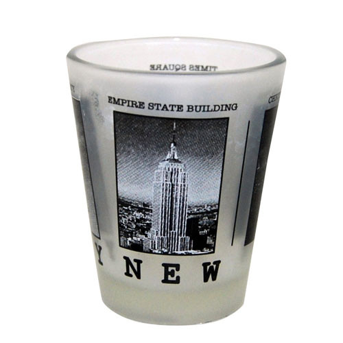 NYC Black & White Pictures Frosted Shot Glass photo