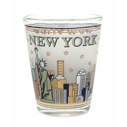 NYC Skyline Gold & Black Frosted Shot Glass Photo