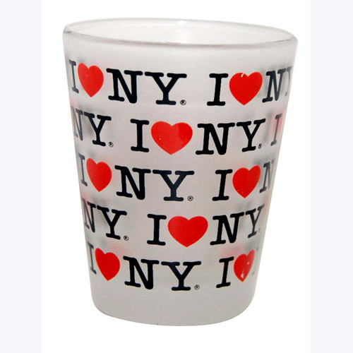I Love NY Repeat Frosted Shot Glass photo