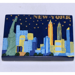 NYC Night Skyline Poly Magnet Photo