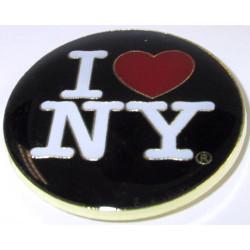 I Love NY Black Round Metal Magnet Photo