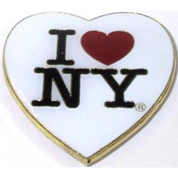 I Love NY White Heart Metal Magnet Photo