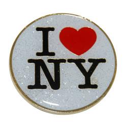 I Love NY White Glitter Metal Magnet Photo