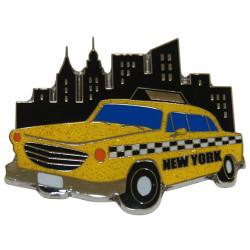 NYC Taxi Glitter Metal Magnet Photo