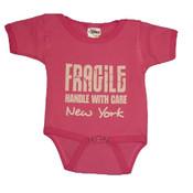 "NYC ""Fragile"" Pink Onesie"