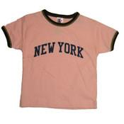 New York Pink Ringer Baby Tee