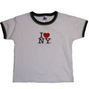 I Love NY White Ringer Baby Tee
