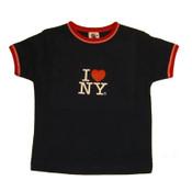 I Love NY Navy Ringer Baby Tee