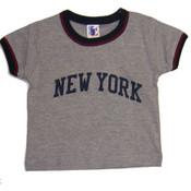 New York Ash Ringer Baby Tee