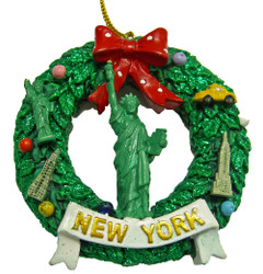 NY Statue of Liberty Wreath Ornament Photo