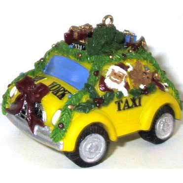 Decorated NYC Taxi Christmas Ornament photo