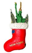 NY Icons in Stocking Christmas Ornament