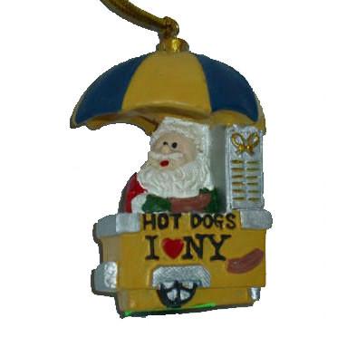 Hot Dog Vendor Santa Christmas Ornament photo