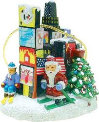 Santa in Times Square Christmas Ornament Photo
