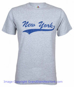 New York Underlined Grey/Navy Adult Tee