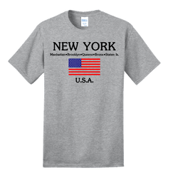 New York with American Flag Ash Tee Photo