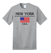 New York with American Flag Ash Tee