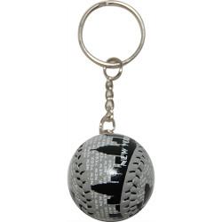 "NYC ""Grey Skyline"" Baseball Keychain"