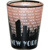 "NYC ""Grey Skyline"" Pink Shaded Shot Glass"