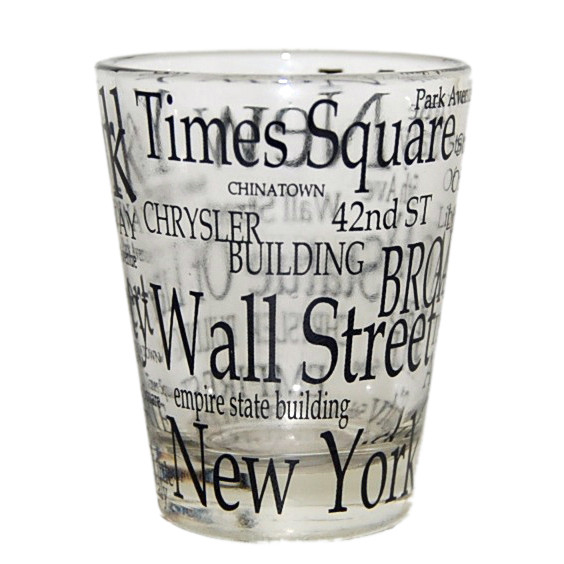 "NYC ""Black Letters"" Clear Shot Glass photo"