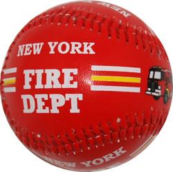 NY Fire Dept Red Baseball Photo