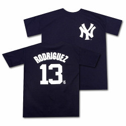 Yankees Alex Rodriguez Name and Number Mens Tee Photo