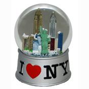 I Love NY Silver 65mm Snowglobe