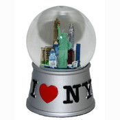 I Love NY Silver 45mm Snowglobe