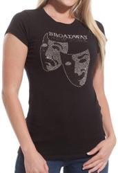 Broadway B/W Masks Rhinestones Fitted Tee