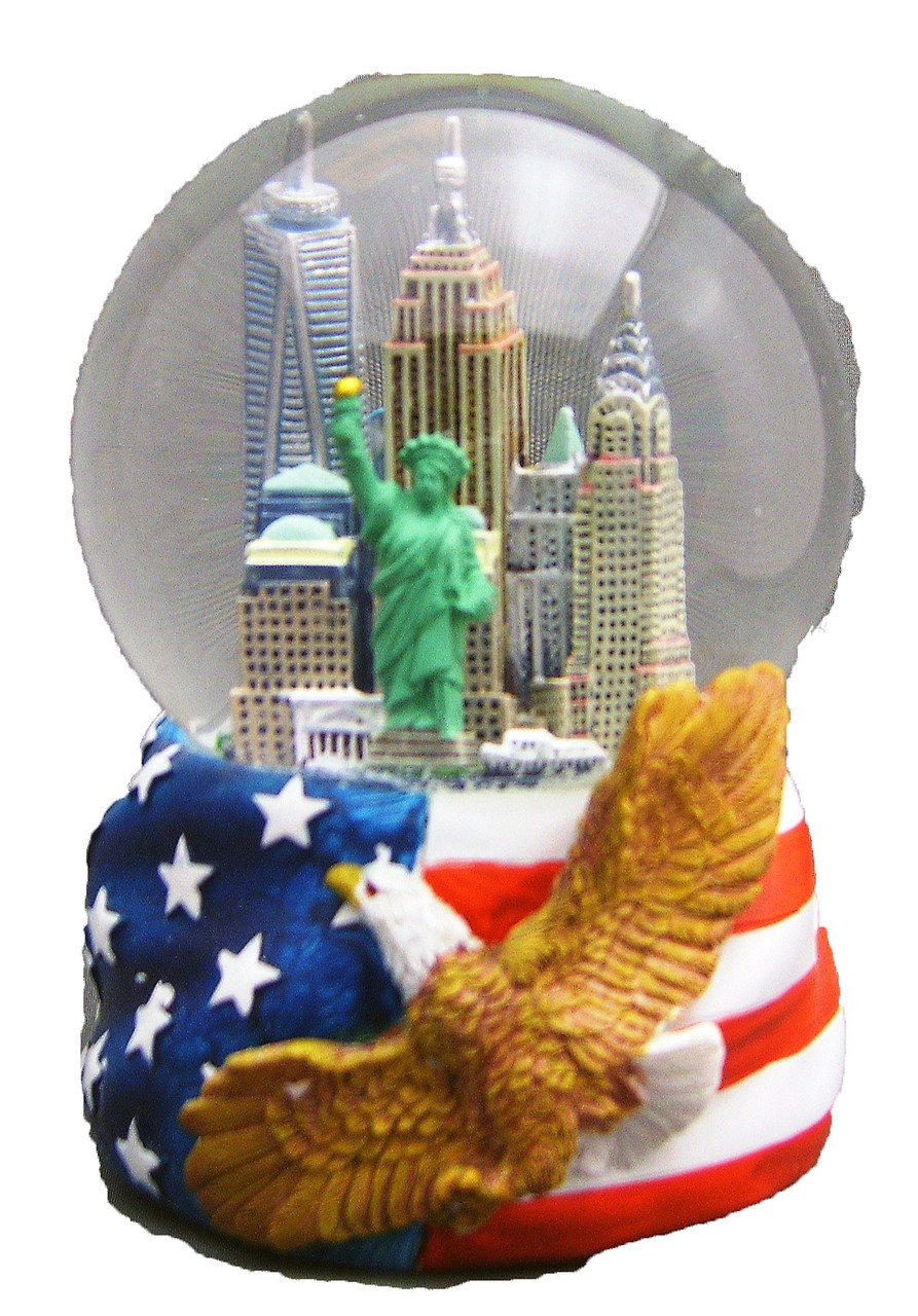 Nyc Skyline With Eagle 100mm Musical Snowglobe
