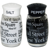 NYC Letters Black & White Salt & Pepper Shakers