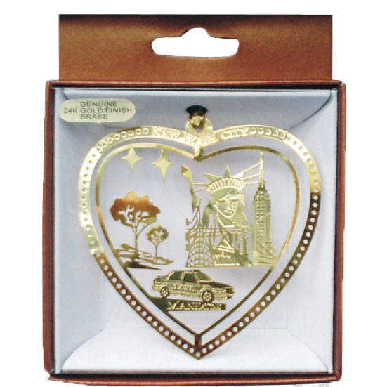 NYC Icons In Heart Gold Foil Ornament photo