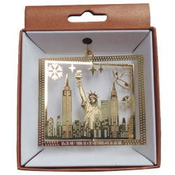 NYC Icons Rectangle Gold Foil Ornament Photo