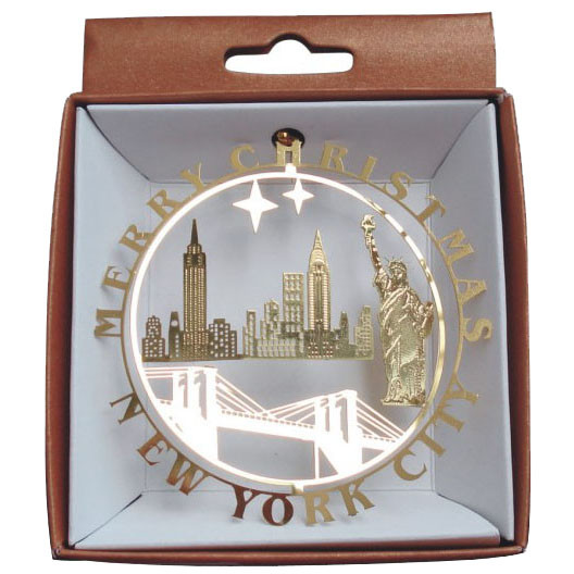 NYC Icons In Circle Gold Foil Ornament photo