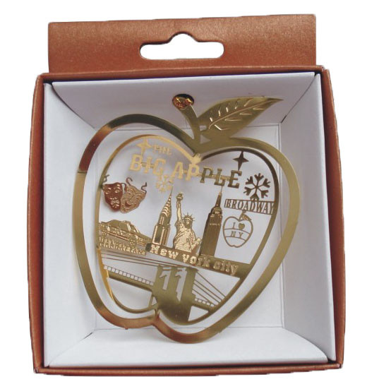 NYC Icons Big Apple Gold Foil Ornament photo