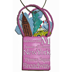 NYC Icons Shopping Bag Ornament - Pink Photo